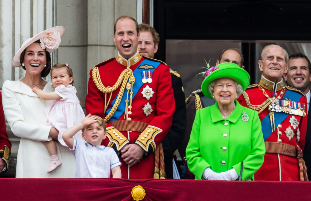 LONDON, ENGLAND - JUNE 11:  Catherine, Duchess of Cambridge, Princess Charlotte, Prince George, Prince William, Duke of Cambridge, Queen Elizabeth II and Prince Philip, Duke of Edinburgh stand on the balcony during the Trooping the Colour, this year marking the Queen's official 90th birthday at The Mall on June 11, 2016 in London, England. The ceremony is Queen Elizabeth II's annual birthday parade and dates back to the time of Charles II in the 17th Century when the Colours of a regiment were used as a rallying point in battle.  (Photo by Samir Hussein/WireImage)